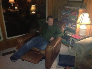"After a truly delicious dinner of grilled steak, mashed potatoes, sautéed mushrooms and onions, and cherry pie a la mode, Alex positioned himself in the ""fancy chair""."