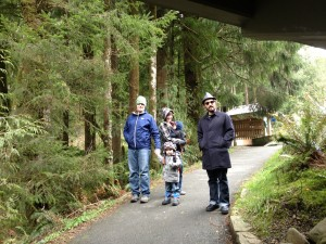 Alex, Dani, Archer, Felix, and Zakk at the start of the trail to Smuggler's Cove at Oswald West State Park.