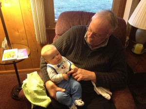 Papaw rocking Baby Alex to sleep